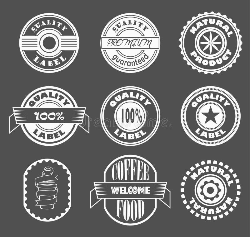 Elementos frescos do projeto do logotipo dos labes do vintage do vetor, produto de qualidade, produto natural, etiqueta do café ilustração royalty free