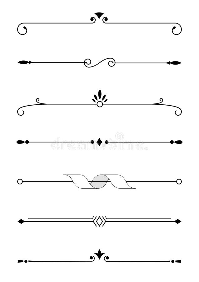 Elementos, fronteras y divisores decorativos del texto foto de archivo