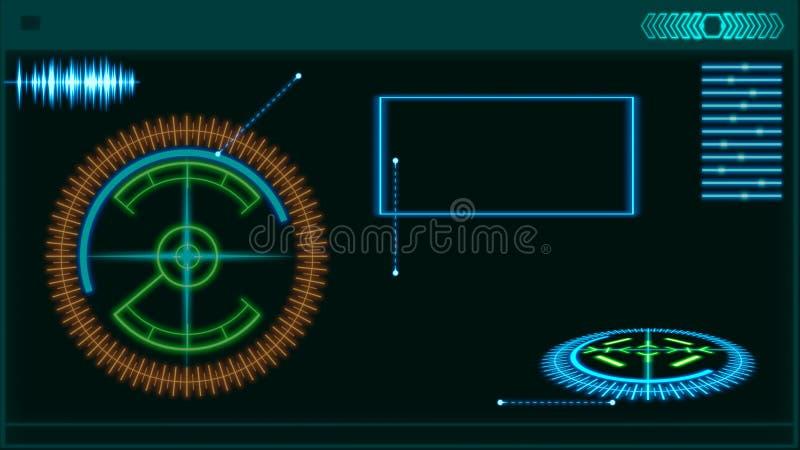 Elementos futuristas del interfaz de HUD Ejemplo de Digitaces stock de ilustración