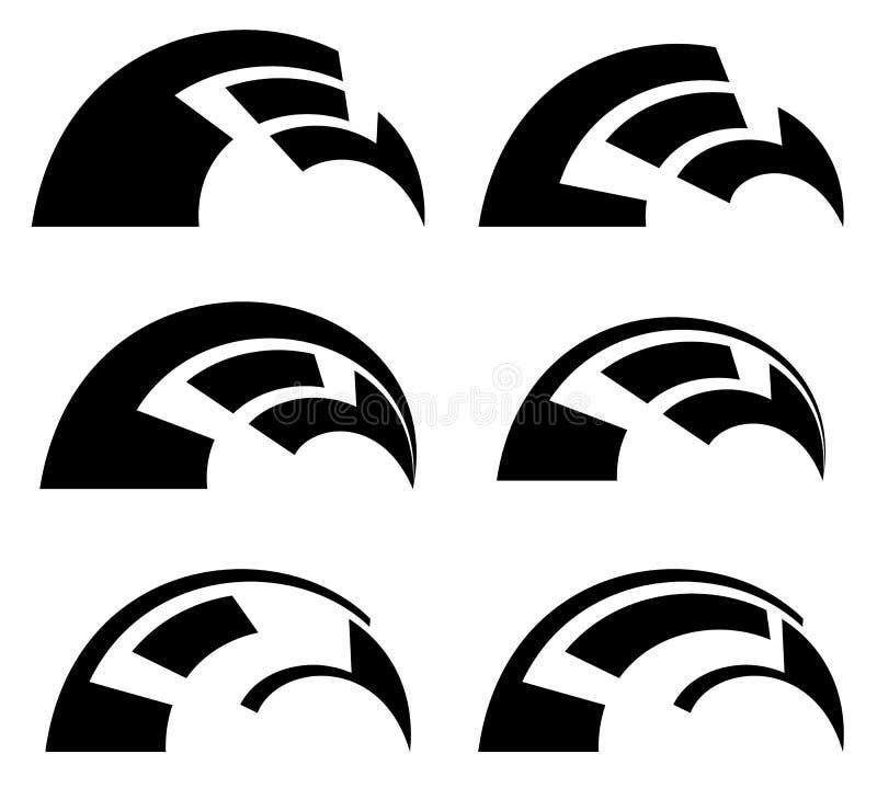 Elementos geométricos abstratos - formas compostas futuristas, EL do hud ilustração stock