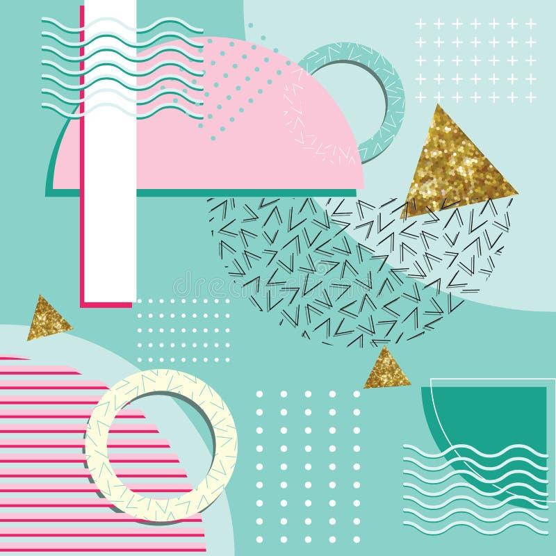 Elementos geométricos de Memphis Style Abstract Background With ilustração do vetor