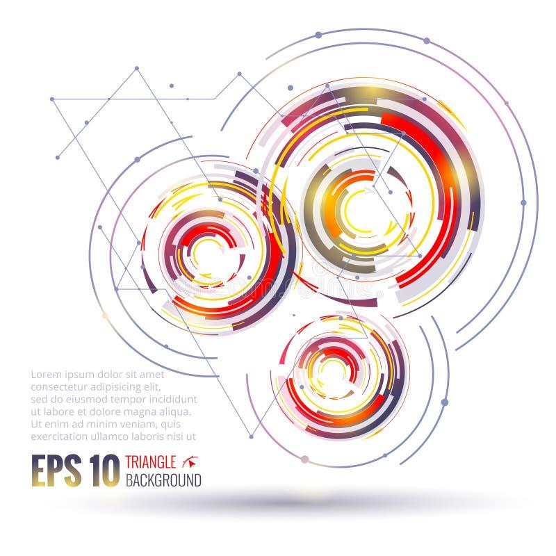 Elementos geométricos del círculo Concepto futuro científico de la tecnología Plantilla con los triángulos Elementos de Infograph stock de ilustración