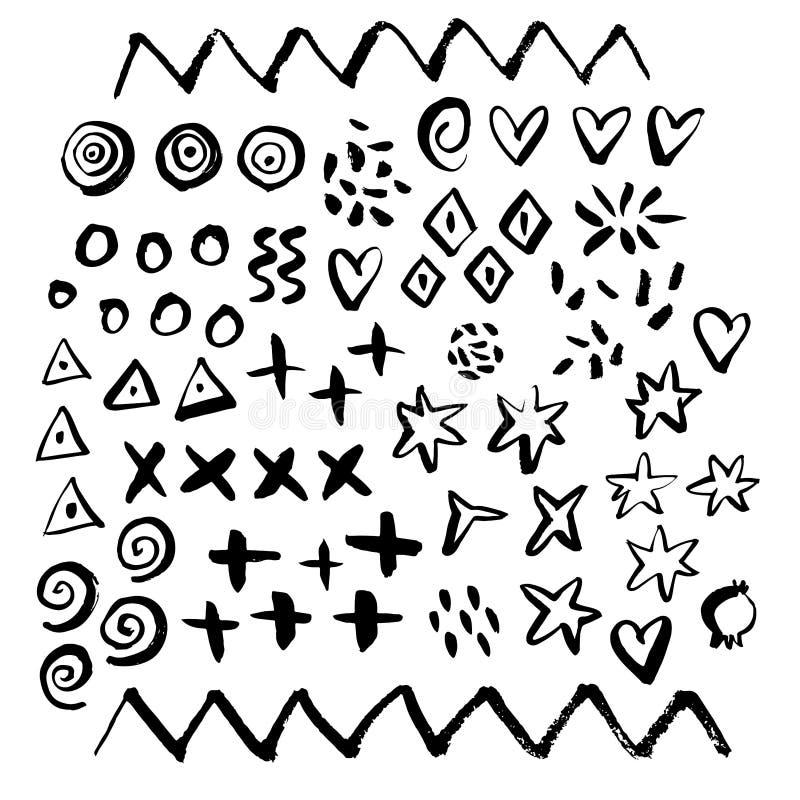 Elementos geométricos dibujados mano del cepillo del grunge de la pintura Sketche de la mano libre illustration