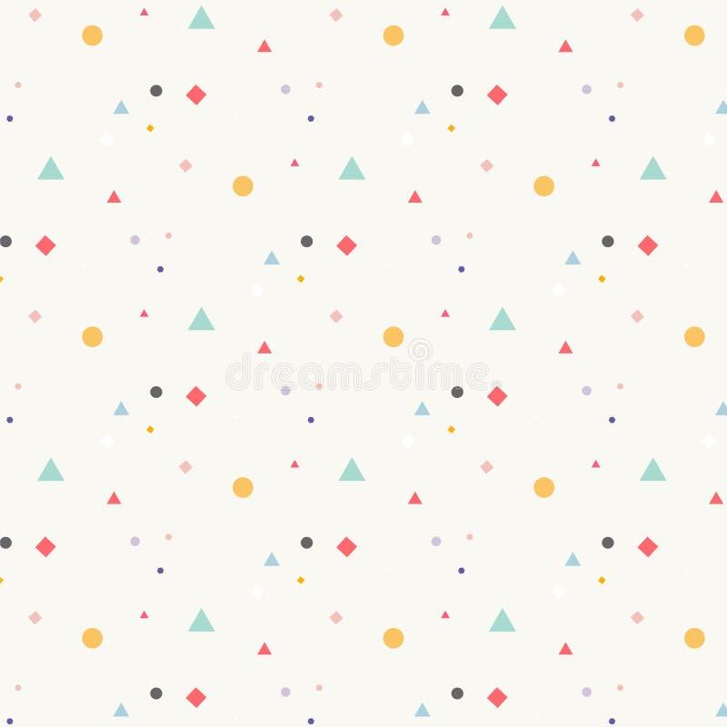 Elementos geométricos na moda Memphis Pattern ilustração stock