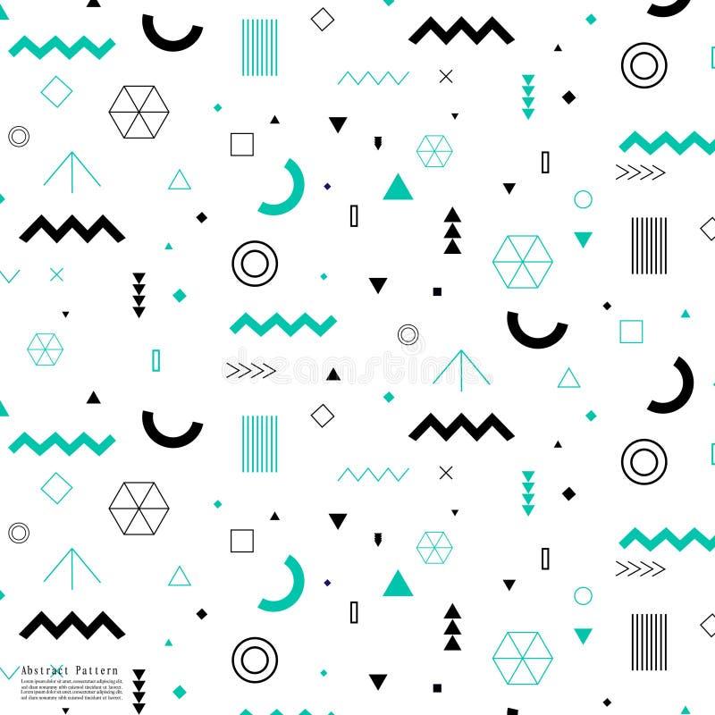 Elementos geométricos na moda Memphis Pattern ilustração do vetor