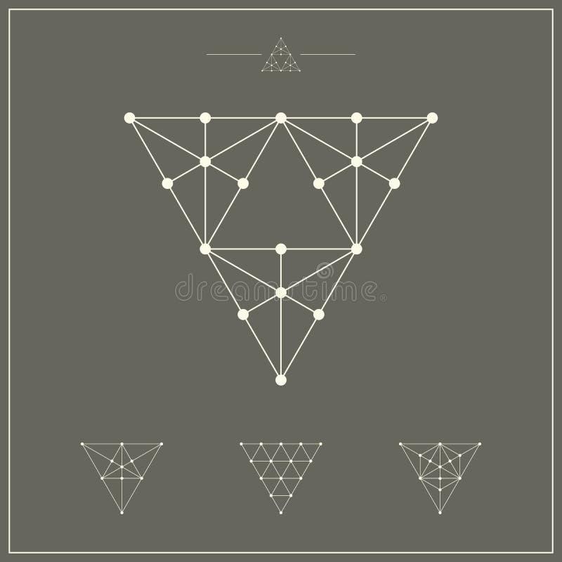 Elementos geométricos, triângulos com pontos ilustração do vetor