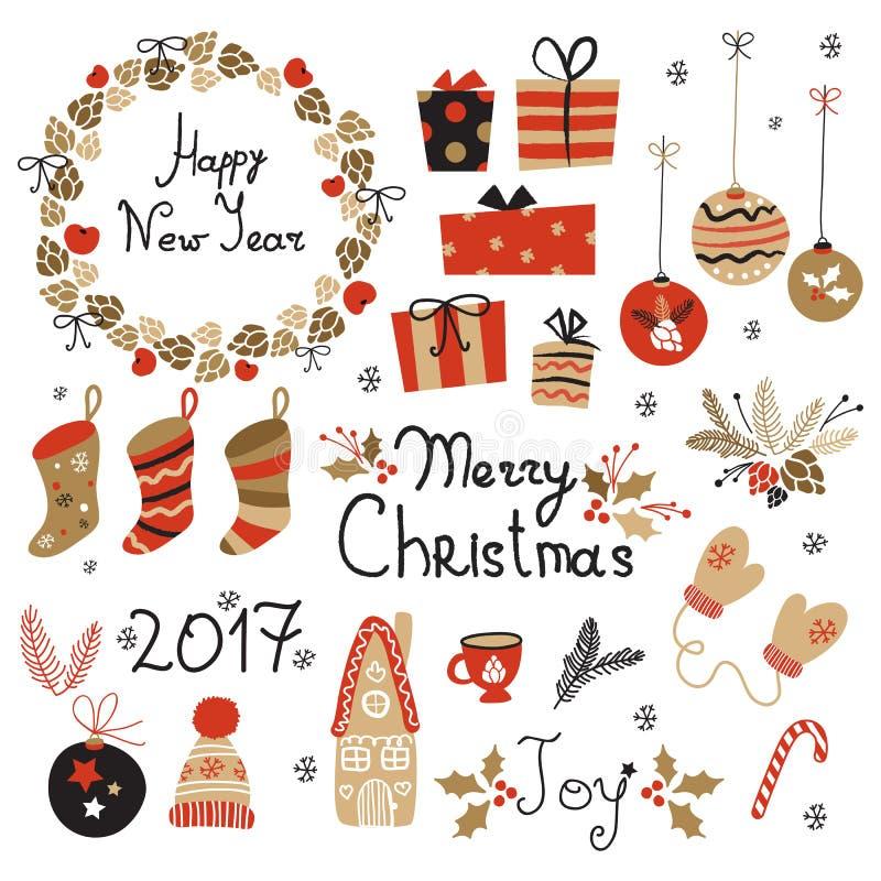 Elementos gráficos ajustados do Natal com grinalda, bolo, casa de pão-de-espécie, mitenes, brinquedos, presentes e peúgas ilustração royalty free