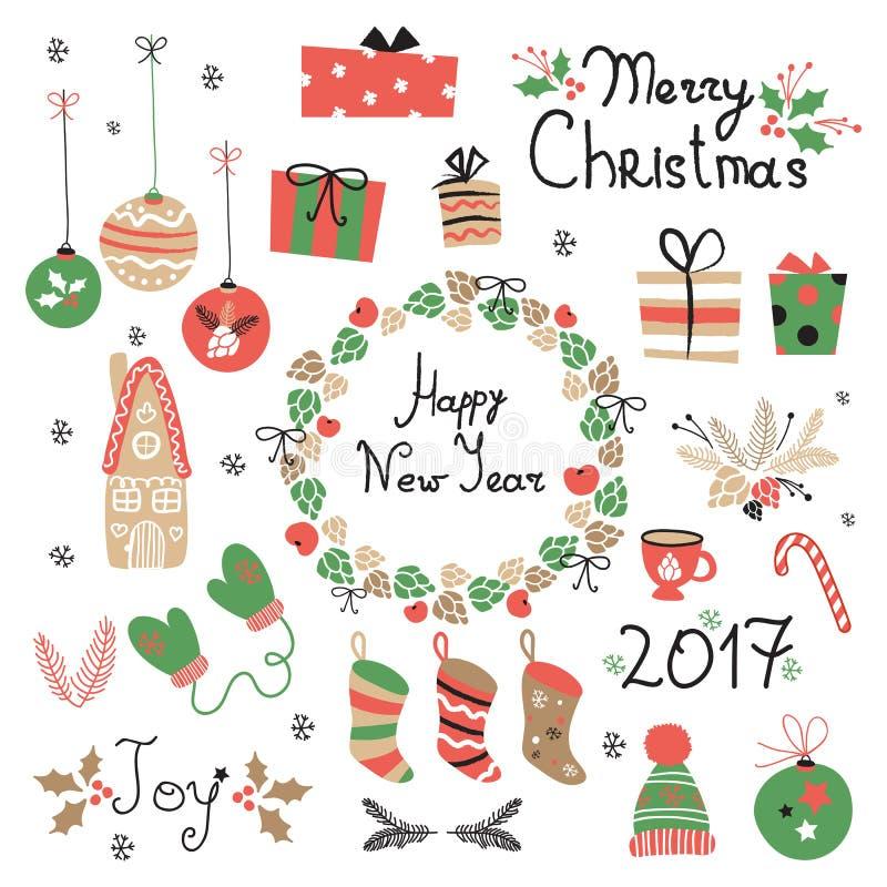 Elementos gráficos ajustados do Natal com grinalda, bolo, casa de pão-de-espécie, mitenes, brinquedos, presentes e peúgas ilustração stock