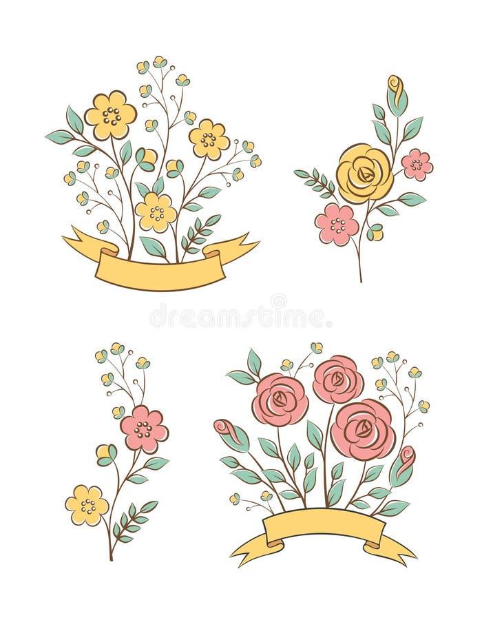 Elementos gráficos florales libre illustration