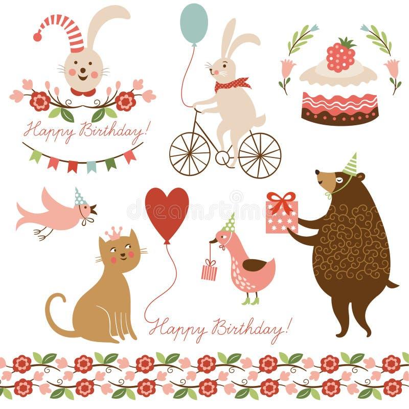 Elementos gráficos para o cartão de aniversário ilustração royalty free
