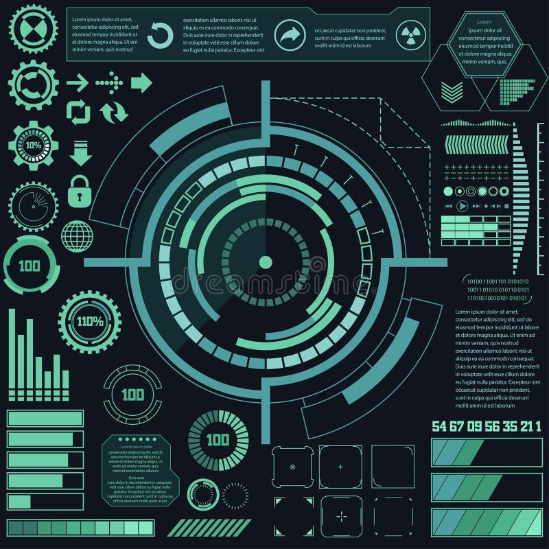 Elementos gráficos virtuais futuristas da interface de utilizador do toque Vetor ilustração stock