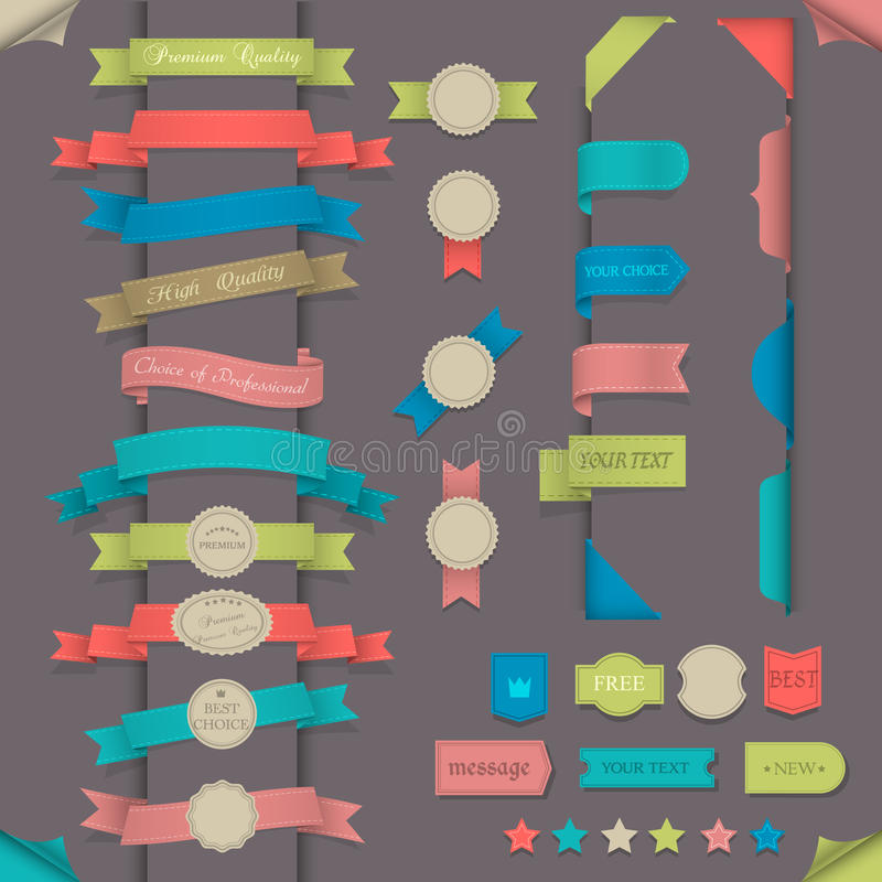 Elementos grandes del diseño determinado en estilo retro libre illustration