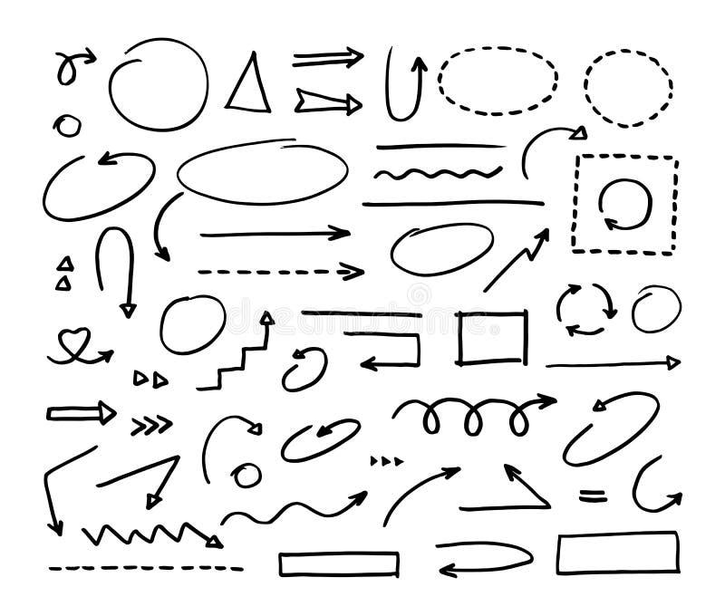 Elementos Handcrafted Flechas dibujadas mano del vector fijadas stock de ilustración