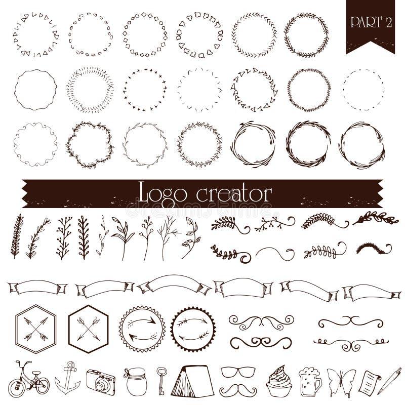 Elementos Handdrawn del logotipo stock de ilustración