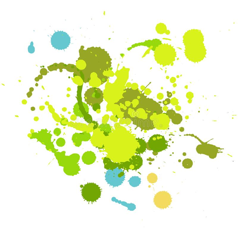 Elementos hechos a mano del descenso de la tinta del Grunge ilustración del vector