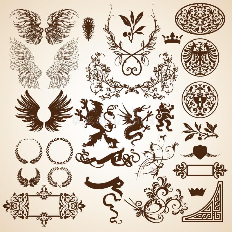 Elementos heráldicos ilustración del vector