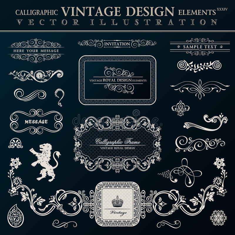 Elementos heráldicos caligráficos de la decoración Marcos del vintage del vector libre illustration