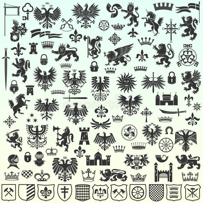 Elementos heráldicos do projeto ilustração royalty free