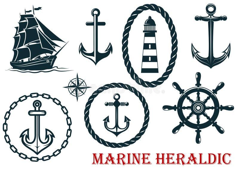 Elementos heráldicos marinos y náuticos libre illustration