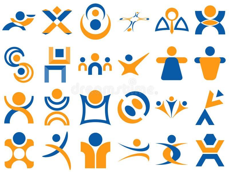 Elementos humanos del diseño de la insignia stock de ilustración