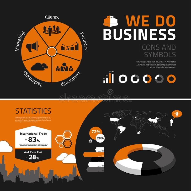 Elementos, iconos y símbolos del infographics del negocio stock de ilustración