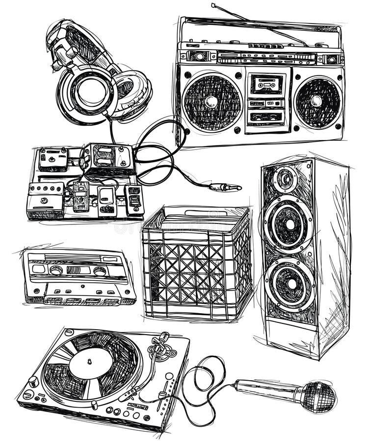 Elementos incompletos de la música stock de ilustración