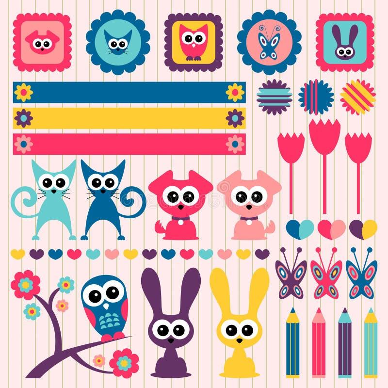 Elementos infanteis do scrapbook com animais ilustração royalty free