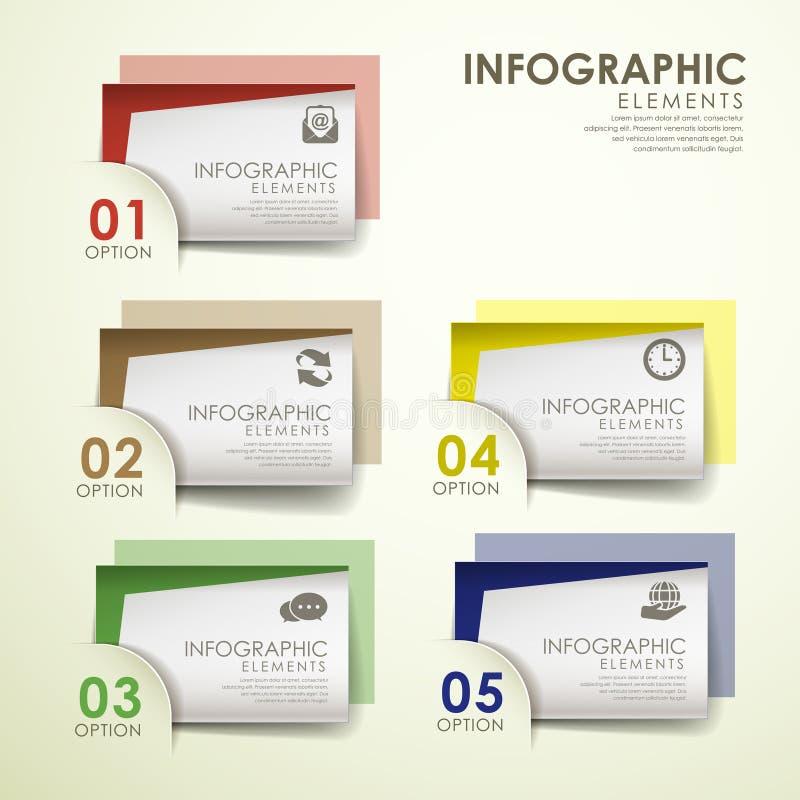 Elementos infographic coloridos abstractos de la tarjeta de papel stock de ilustración