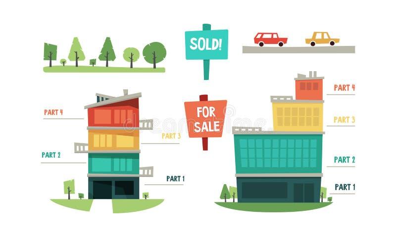 Elementos infographic, compra y venta de las propiedades inmobiliarias del ejemplo del vector de la propiedad en un fondo blanco ilustración del vector