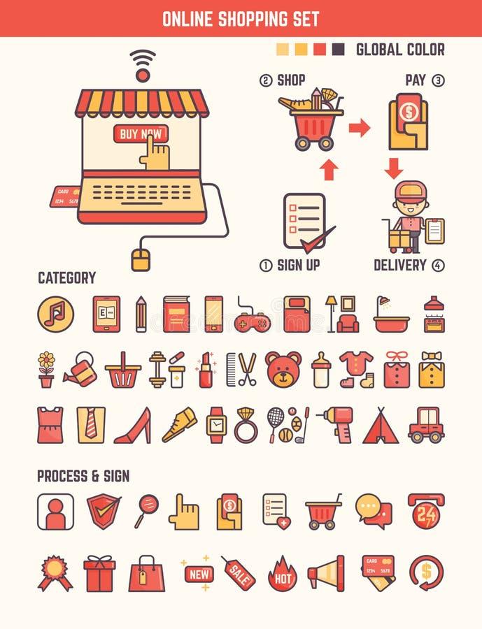 Elementos infographic da compra em linha para a criança ilustração royalty free