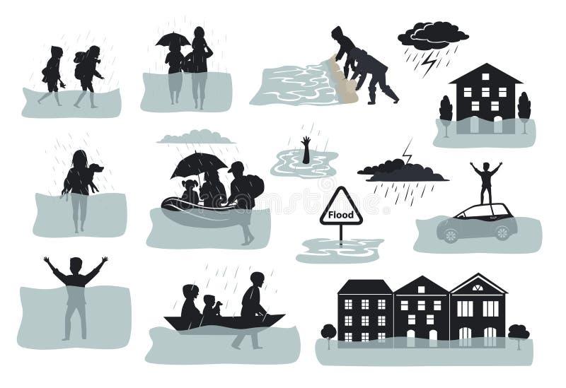 Elementos infographic da silhueta da inundação as casas inundadas, cidade, carro, pessoa escapam das água da enchente que saem de ilustração do vetor