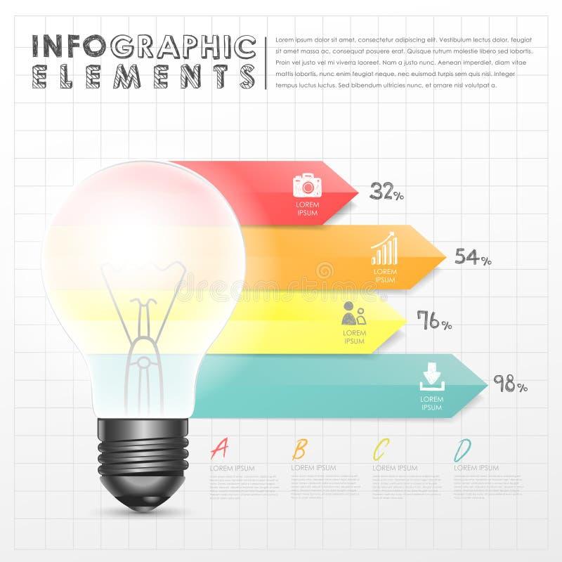 Elementos infographic de la carta de barra del extracto de la bombilla ilustración del vector