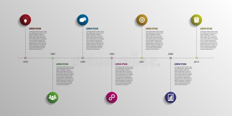 Elementos infographic de la cronología Vector con los iconos ilustración del vector