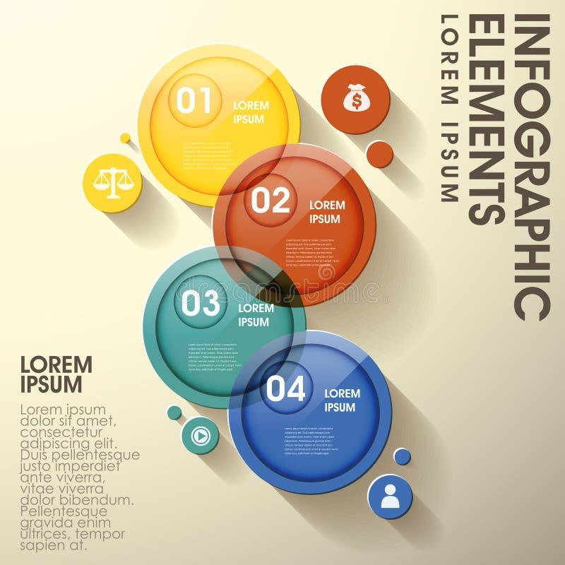 Elementos infographic de la etiqueta brillante abstracta del círculo ilustración del vector
