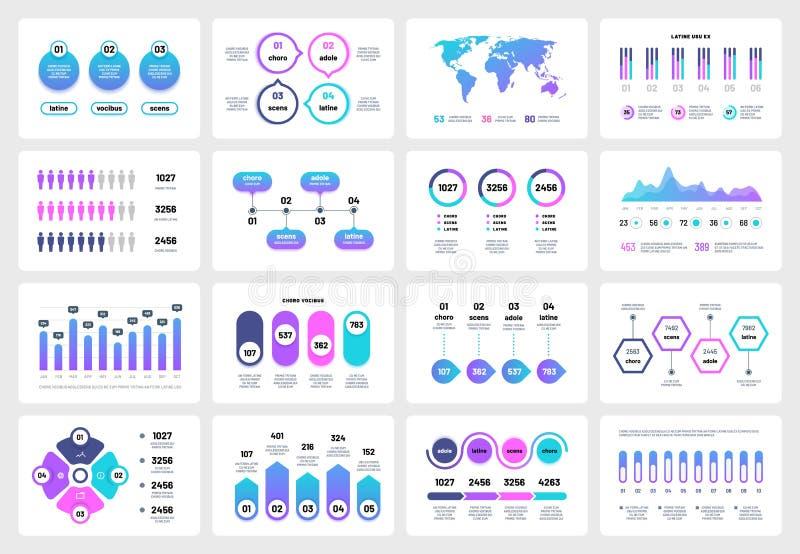 Elementos infographic de la presentación Cronología del informe corporativo de las cartas de los gráficos Vector multiusos del má ilustración del vector