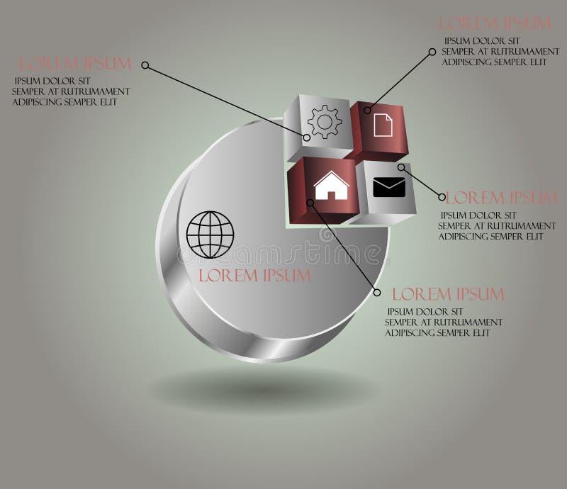 Elementos infographic de papel abstractos 3d del vector Infograph de Metaball stock de ilustración
