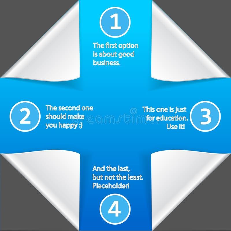 Elementos infographic de papel en fondo azul ilustración del vector