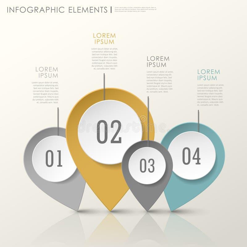Elementos infographic de papel modernos abstractos de la marca de ubicación ilustración del vector