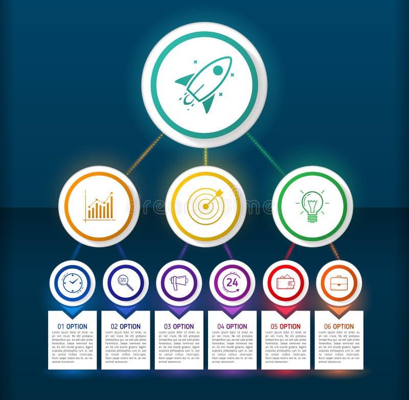 Elementos infographic del diseño oscuro del círculo con las líneas, los iconos y el te ilustración del vector
