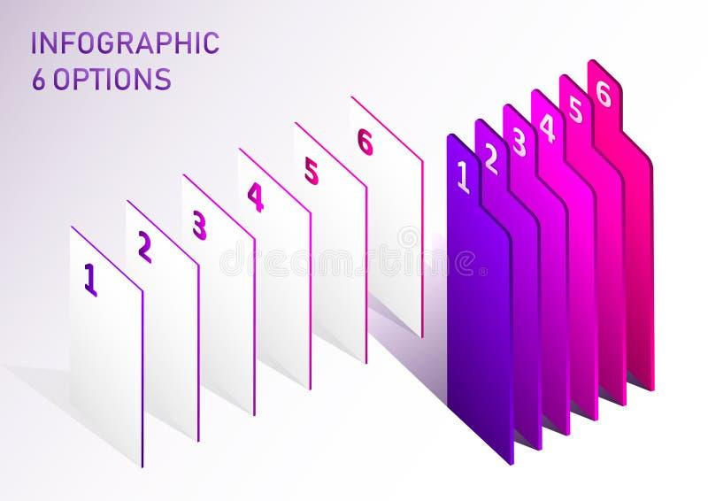 Elementos infographic del vector de la etiqueta moderna del paso Elementos abstractos de las opciones de los pasos del gráfico 6 stock de ilustración