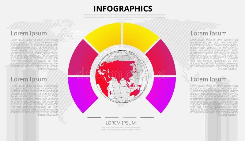 Elementos infographic del vector del extracto de la etiqueta moderna del paso puede ser utilizado para la conexi?n de red global  ilustración del vector