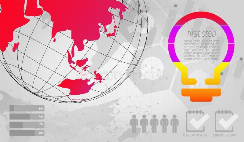 Elementos infographic del vector del extracto de la etiqueta moderna del paso puede ser utilizado para la conexi?n de red global  libre illustration