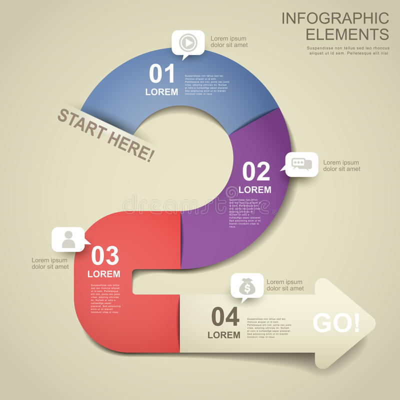 elementos infographic do fluxograma do papel 3d ilustração stock