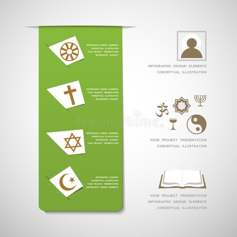 Elementos infographic do projeto das religiões do mundo ilustração royalty free