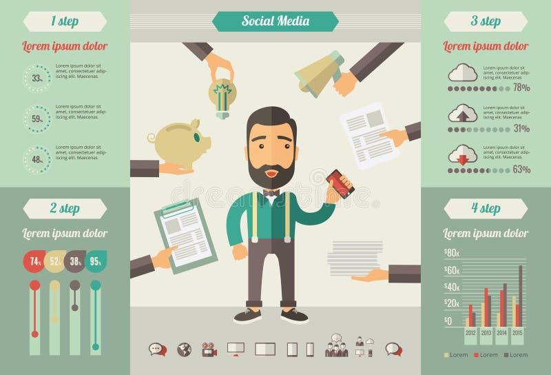 Elementos infographic dos meios sociais ilustração stock