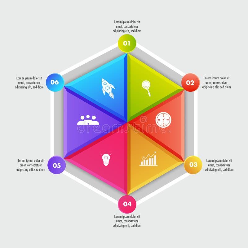 Elementos infographic geométricos do negócio colorido com seis opções diferentes ilustração stock