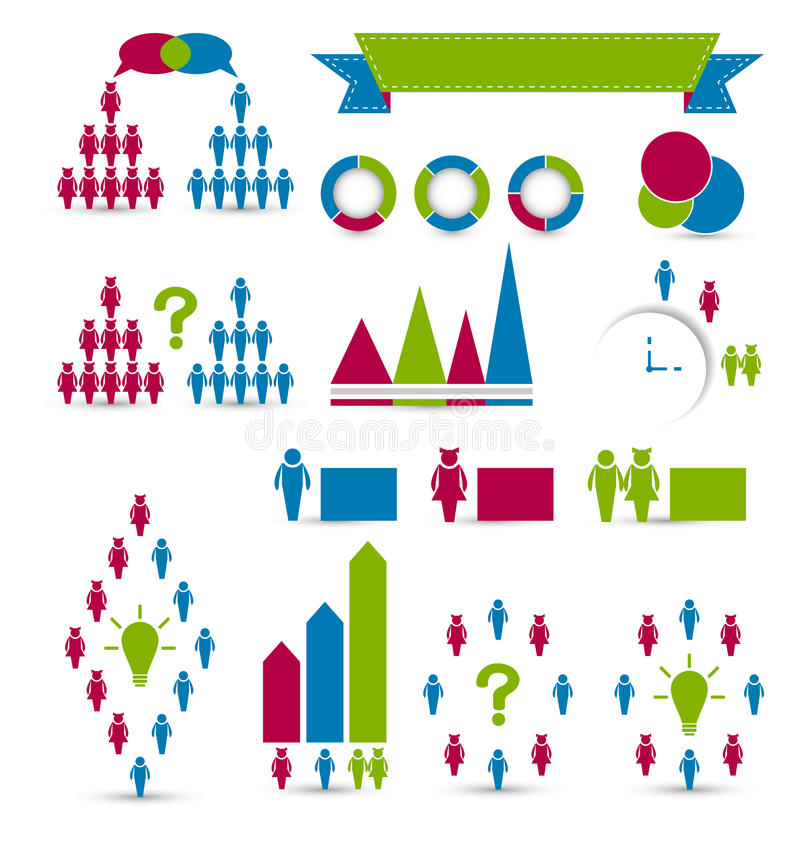 Elementos infographic humanos ajustados do projeto ilustração stock