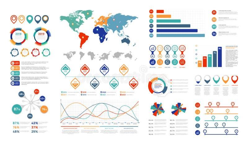 Elementos infographic planos El elemento de la carta de la presentación, el por ciento representa la bandera y el organigrama del ilustración del vector