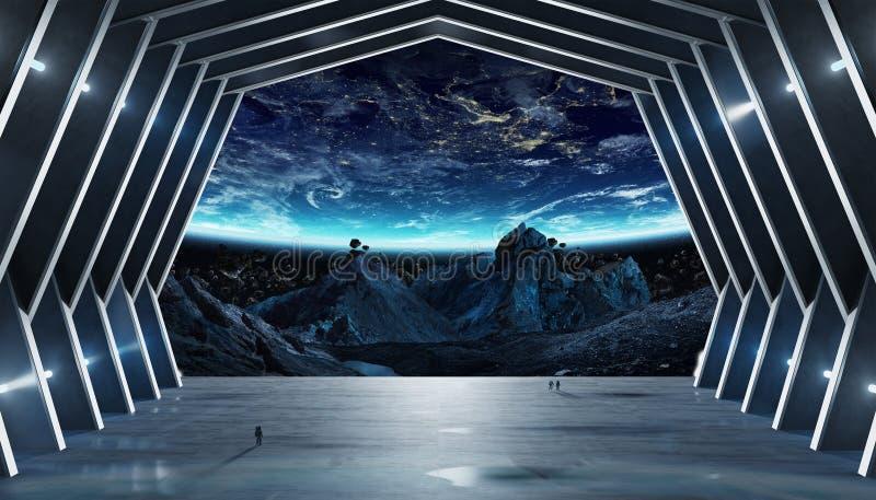 Elementos interiores de la representación 3D de la nave espacial enorme del pasillo de esta imagen ilustración del vector
