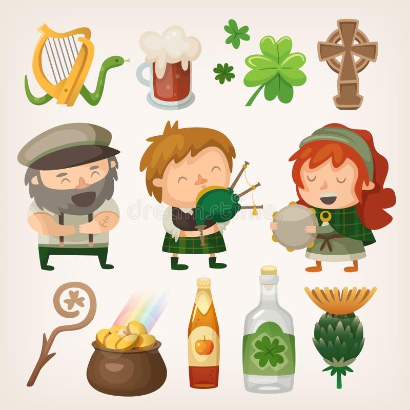 Elementos irlandeses ilustração royalty free